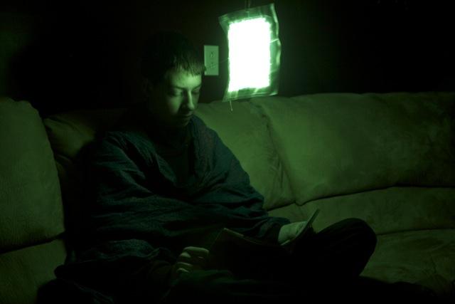 Glowpak 8 x 10 as a reading light