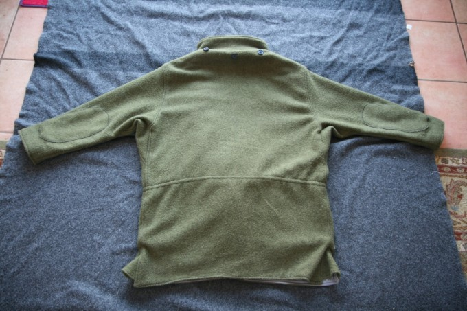 Reverse view of the hoodless jacket.