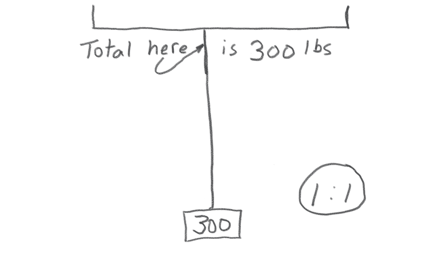 Fig. 1 -- A simple rope with a 300 lb load.