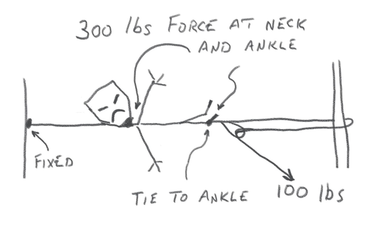 Fig. 2 -- Stretching a Zombie. In this configuration with BOTH pulleys fixed, you get a 3-to-1 mechanical advantage.